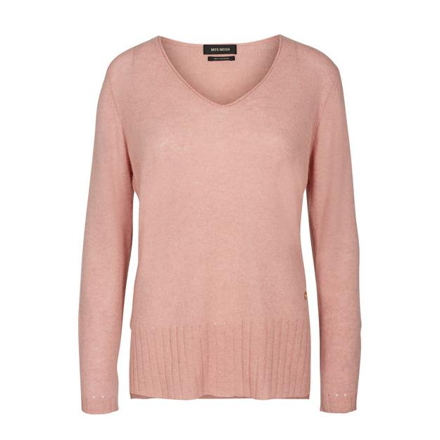 Hochwertiger Kaschmir-Pullover mit V-Ausschnitt von Mos Mosh in rosa