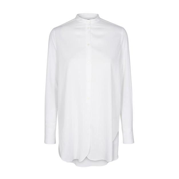 Maisie Shirt - Weiße lange Bluse von der Marke Mos Mosh, gerader, lockerer Schnitt mit Knopfleiste
