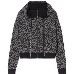10 days Hoodie mit Zipper Sweatjacke Leopard Muster Kapuze Schwarz Grau