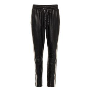 10 Days sportliche Lederhose Leatherpants mit Streifen Schwarz