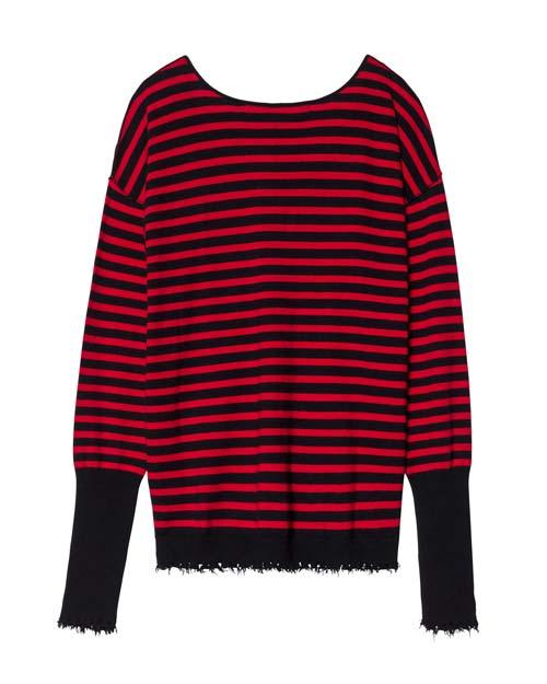 10 Days Pullover rot schwarz gestreift mit V-Ausschnitt und ausgefranstem Saum
