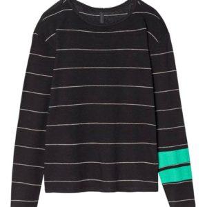 10 Days Longsleeve Oversize Schwarz Weiß Streifen und 2 grüne Streifen am Arm