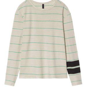 """Das Longsleeve Tee von 10days gehört zu den Basic Shirts. Das gestreifte Muster mit dem auffallendem Grün peppt das Shirt auf. Es ist lässig geschnitten und zu 95% aus Leinen gefertigt. Ein tolles """"Jeden-Tag-Teil""""."""