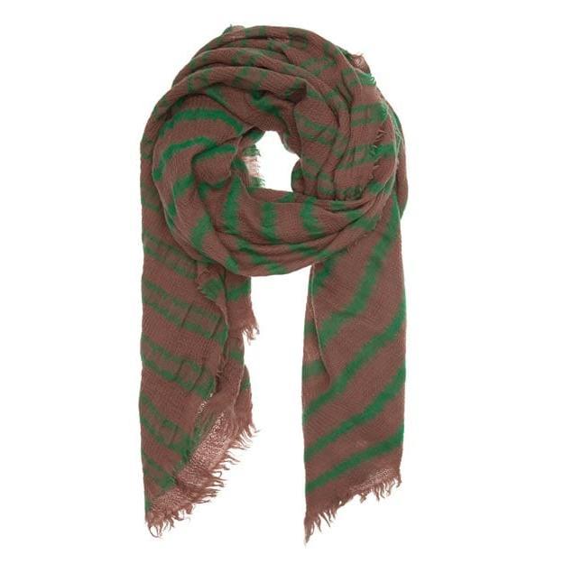 Ein schönes, hochwertiges Tuch von 10 days in hellbraun mit grünen Streifen. Das Material ist locker gewebt und sehr weich. Die Ränder des Tuches sind lässig ausgefranst.