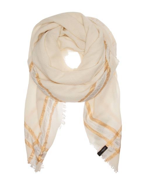 Ein schönes, hochwertiges Tuch von 10 days in White Wool mit Lurex- Streifen. Das Material ist locker gewebt und sehr weich. Die Ränder des Tuches sind lässig ausgefranst.
