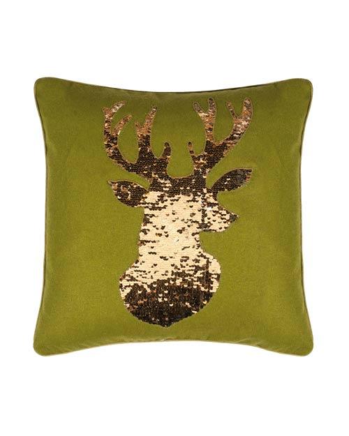 Kissen von der Marke PAD in grün und aufgenähtem Hirschkopf aus goldenen Pailletten