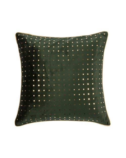 Kissen von der Marke PAD in dunkelgrün mit Muster aus Pailletten