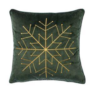 Kissen von der Marke PAD in dunkelgrün mit Sternenmuster aus Pailletten