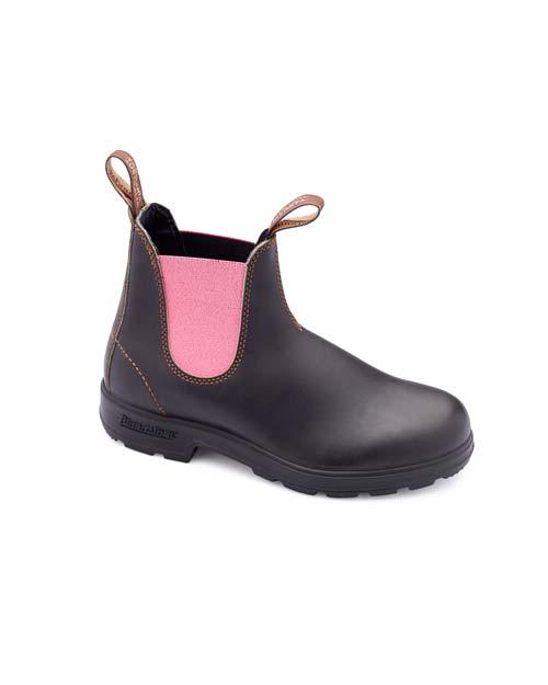 Blundstone Boots - Stiefeletten aus braunem Leder mit rosa Details