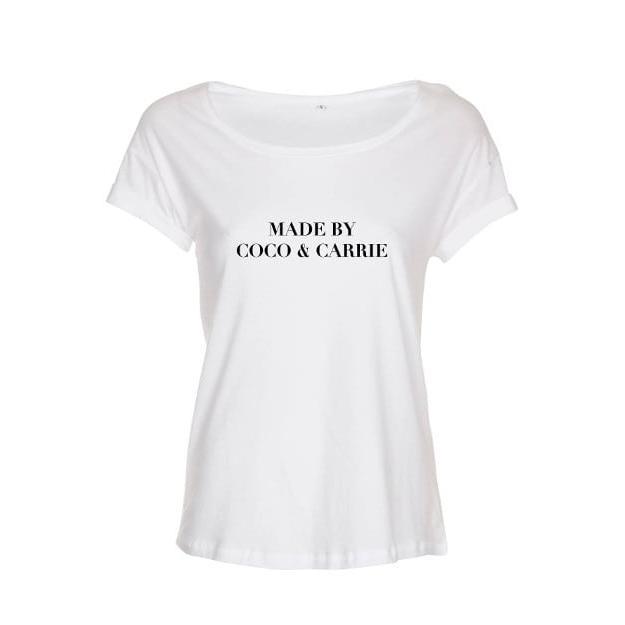 """Das """"Coco & Carrie"""" Shirt von LOOKABE ist ein richtiges Statement Shirt. Das Material ist aus 100% Bio-Baumwolle. Mit Aufschrift"""