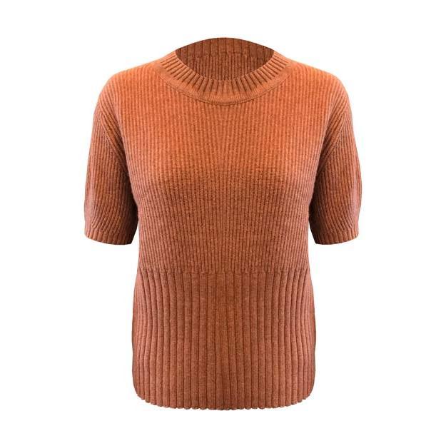 Peace Sweater von Jc Sophie - ein kurzärmliger Strick Pullover von JC Sophie in der Farbe Cognac
