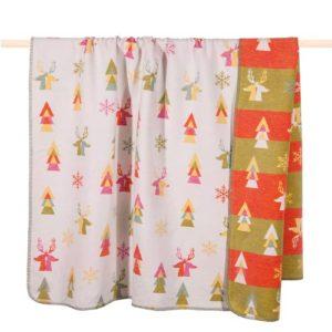 Kuschelige Decke von der Marke PAD mit abstraktem Weihnachtsdesign, bunt gemustert