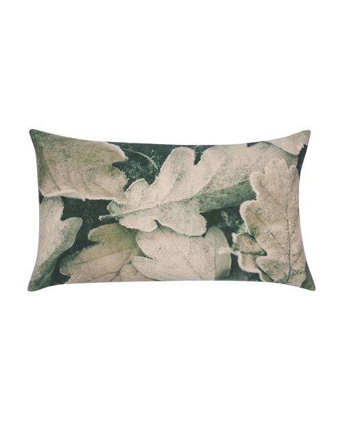 Kissen von der Marke PAD mit Makro-Fotografie von Blättern, blass grüne Farbtöne