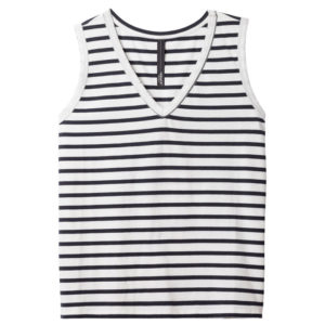 10days-amsterdam-Sleeveless-Top-stripe-dark-grey-blue-ecru-streifen-casual-look-front-vorderseite
