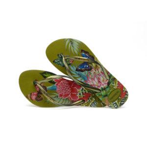 Havaianas Flipflops Sandale Badeschuh Zehentrenner Slim Tropical Camo Green Badelatschen Badeschlappen