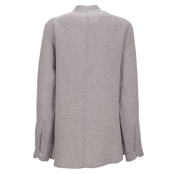 Robert-Friedman-Faral-authentic-sophisticated-high-premium-quality-Blouse-bluse-grey-blue-ruffels-rüschen-casual-bussines-summer-outfit-look-rueckseite-back