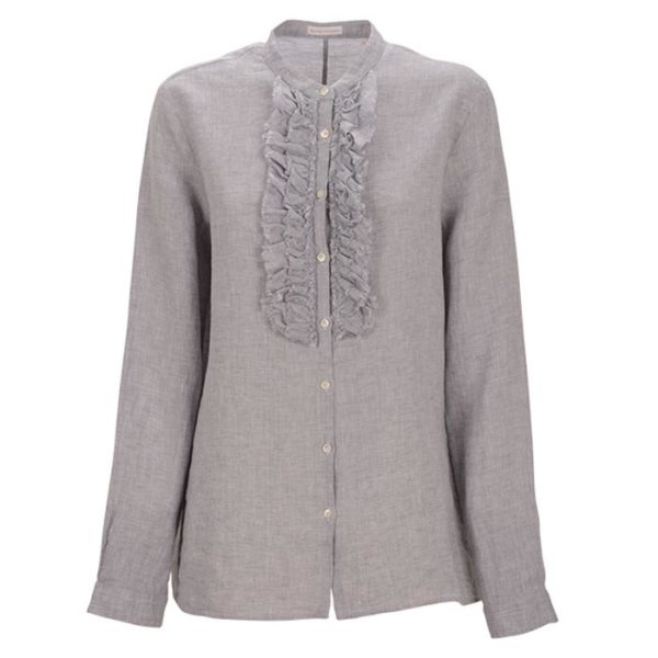 Robert-Friedman-Faral-authentic-sophisticated-high-premium-quality-Blouse-bluse-grey-blue-ruffels-rüschen-casual-bussines-summer-outfit-look-vorderseite-front