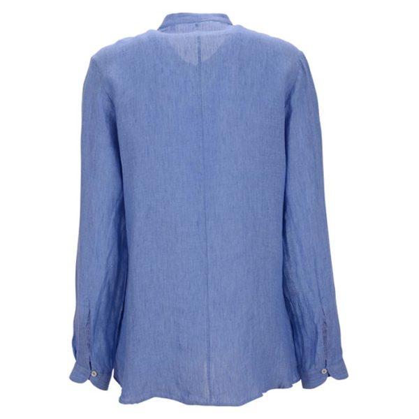 Robert-Friedman-Faral-authentic-sophisticated-high-premium-quality-long-bluse-blouse-light-blue-ruffles-Rüschen-summer-outfit-rueckseite-back