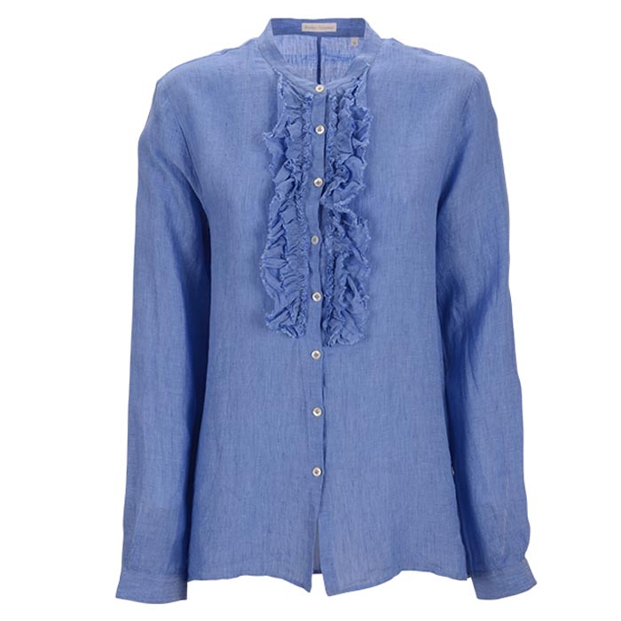 Robert-Friedman-Faral-authentic-sophisticated-high-premium-quality-long-bluse-blouse-light-blue-ruffles-Rüschen-summer-outfit-vorderseite-front