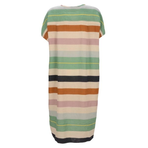 Robert-Friedman-Giselel-authentic-sophisticated-high-premium-quality-oversize-dress-kleid-stripes-v-neck-kurzarm-casual-summer-outfit-look-rueckseite-back
