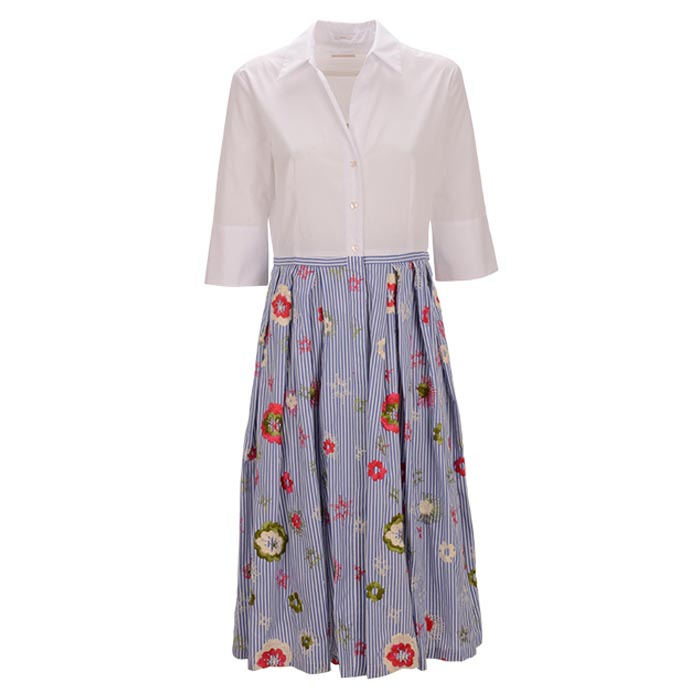 Robert-Friedman-Keithc-authentic-sophisticated-high-premium-quality-dress-kleid-white-flower-stitching-kurzarm-casual-bussines-summer-outfit-look-vorderseite-front