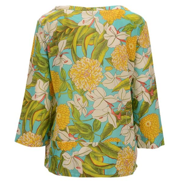 Robert-Friedman-LizzyL-authentic-sophisticated-high-premium-quality-bluse-blouse-floral-print-summer-outfit-Blumenmuster-rueckseite-back