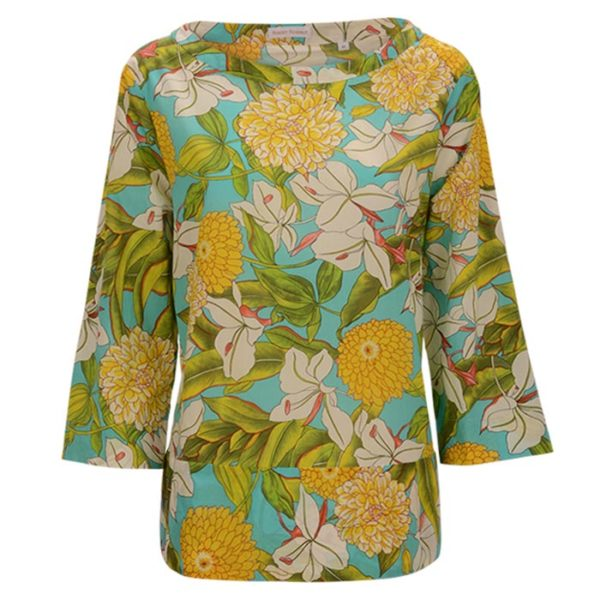 Robert-Friedman-LizzyL-authentic-sophisticated-high-premium-quality-bluse-blouse-floral-print-summer-outfit-Blumenmuster-vorderseite-front