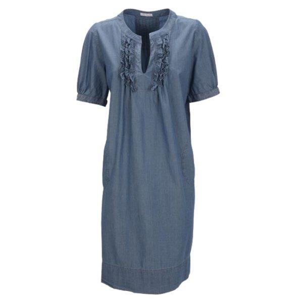 Robert-Friedman-MaryJ-authentic-sophisticated-high-premium-quality-dress-dark-blue-ruffels-rüschen-vorderseite-front