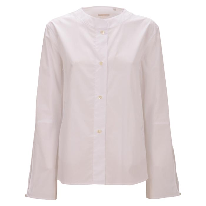 Robert Friedman Zoe Authentic Sophisticated High Premium Quality Oversize Bluse Blouse White Bussines Stehkragen Stand Up Collar Casual Summer Outfit Look Vorderseite Front