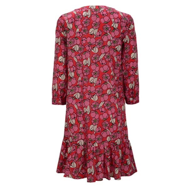Zimt-und-zucker-floraler-print-meringue-watermelon-chick-dress-kleid-rot-red-rueckseite-back