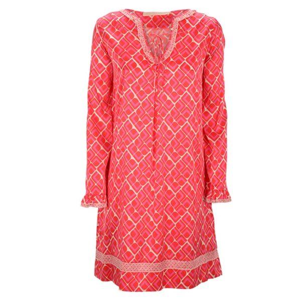 Zimtzucker-satin-dress-retro-Print-Muster-watermelon-pitaya-Kleid-Summer-Sommer-vorderseite-front
