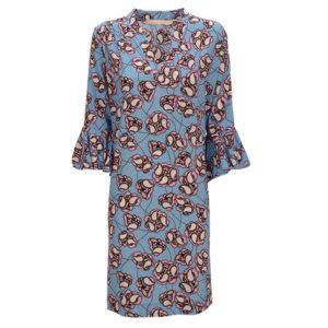 zimt-und-zucker-dress-flower-print-muster-blue-summer-casual-chic-vorderseite-front