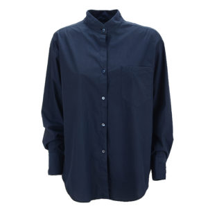 Philo Shirt Lamorra Oversize Casual Chic Dark Blue Chestpocket Stehkragen Standup Collar Front Vorderseite