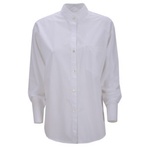 Philo Shirt Lamorra Oversize Casual Chic White Chestpocket Stehkragen Standup Collar Front Vorderseite