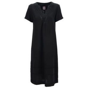 Philo Summerdress Pupillo Casual Chic Black V Neck Front Vorderseite