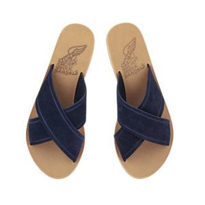 Ancient Greek Sandal Thais Crosta Marine Blue Blau Leder