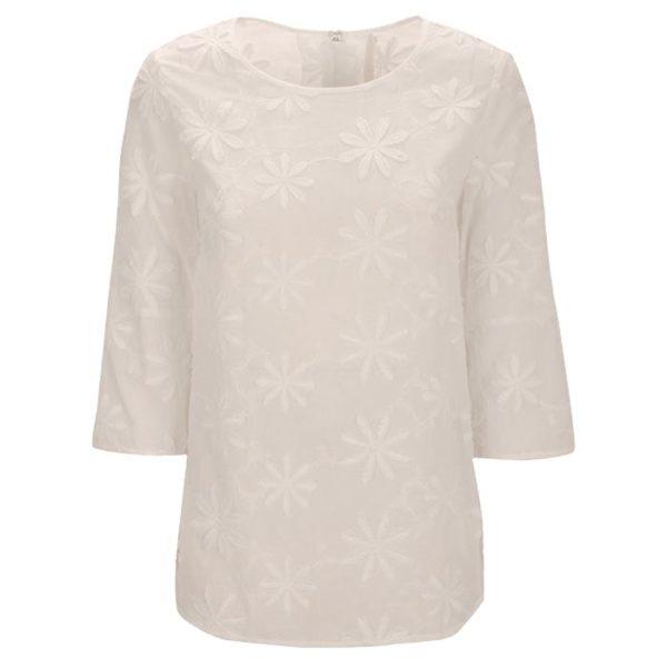 Zimt Und Zucker Weiß White Bluse Flower Blume Muster Naht Kopie
