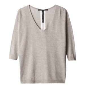 10days-amsterdam-light-grey-melee-v-neck-sweater-lurex-casual-vorderseite-front