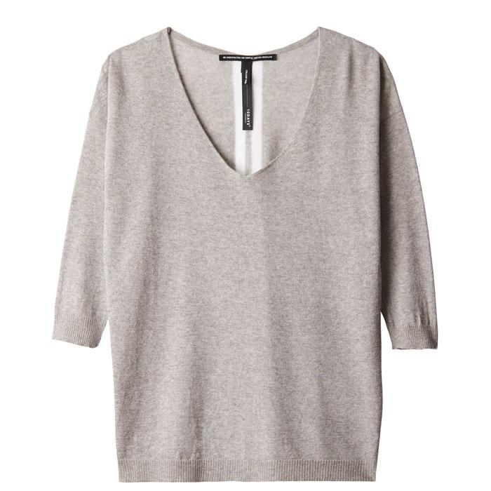 10days-amsterdam-light-grey-melee-v-neck-sweater-lurex-casual-vorderseite-front
