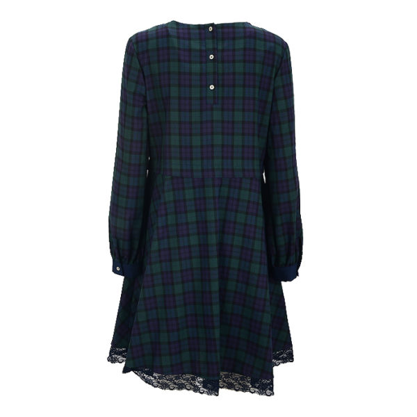 La Camicia Kleid Dress Karo Checked Blue Blau Grün Green Spitze (1)