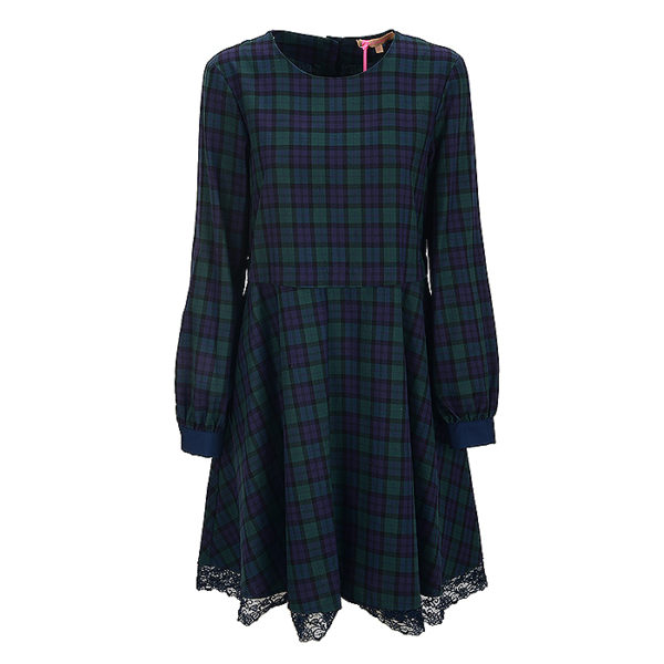 La Camicia Kleid Dress Karo Checked Blue Blau Grün Green Spitze (2)