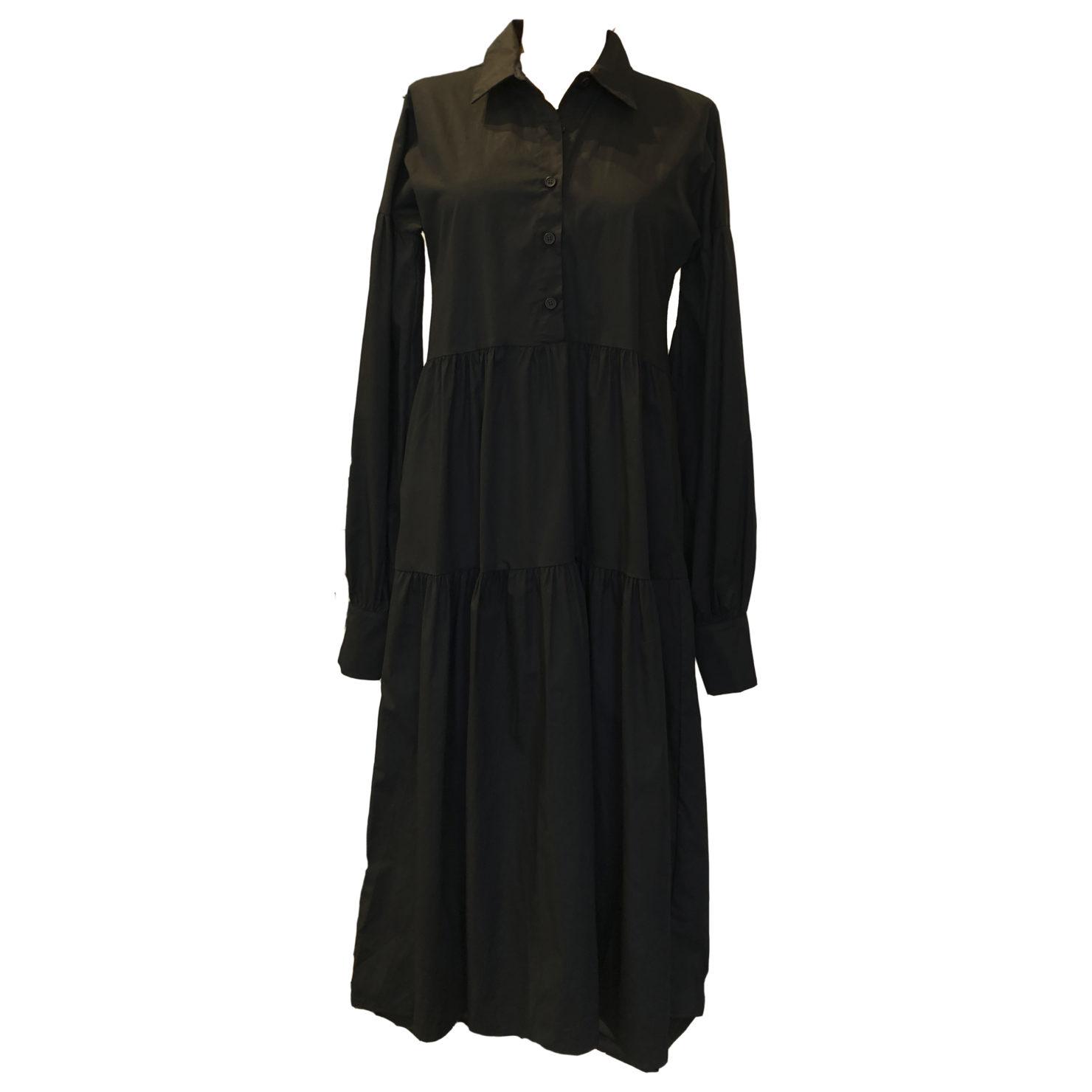 by swan | langes kleid mit kragen | schwarz